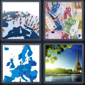 4 Pics 1 Word Answer 6 letters for world with figures of people standing, Euro money bills, blue map of multiple countries, Paris Eiffel Tower