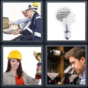 4 Pics 1 Word Answer 6 letters for architects with hardhats looking at blueprints on computer, brain inside lightbulb, woman in hardhat holding gold trophy, man sniffing red wine in glass