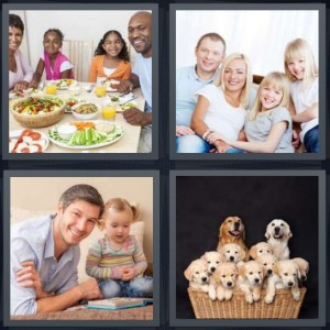 4 Pics 1 Word Answer 6 letters for dinner table together, portrait of blonds, father with daughter, puppies in basket