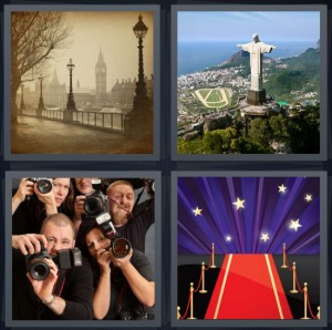4 Pics 1 Word Answer 6 letters for photograph of old city, statue in Rio de Janeiro on hill, paparazzi taking photos of celebrities, red carpet at awards show with stars
