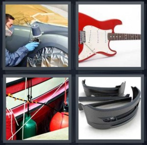 4 Pics 1 Word Answer 6 letters for man detailing car in mechanic shop, red and white guitar, buoys on edge of boat, bumper of car removed