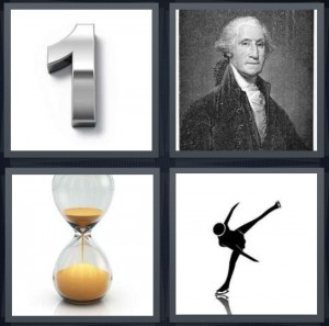 4 Pics 1 Word Answer 6 letters for silver number 1 on white background, portrait of George Washington, sand egg timer, ice skater silhouette