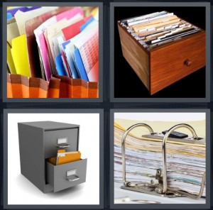 4 Pics 1 Word Answer 6 letters for colored file folders, wooden drawer with paperwork, cabinet full of folders, files in three ring binder