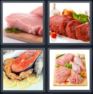 4 Pics 1 Word Answer 6 letters for fish cut ready for grill, raw steak prepped for cooking, raw tuna steak with mussels, chicken prepped and cut to cook