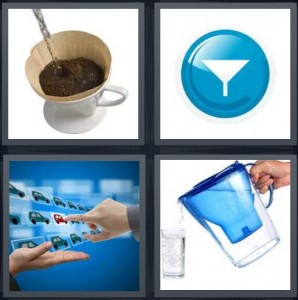 4 Pics 1 Word Answer 6 letters for coffee being made with machine, blue button with funnel, person choosing red car, pouring water from pitcher like Brita