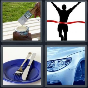 4 Pics 1 Word Answer 6 letters for done painting bench white with green grass, runner breaking red tape at end of race, empty plate with silverware, front of car