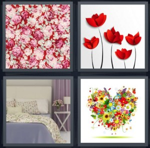4 Pics 1 Word Answer 6 letters for pink flowers bunch, red flower buds on stems, bedroom with printed bedspread, heart made of flowers