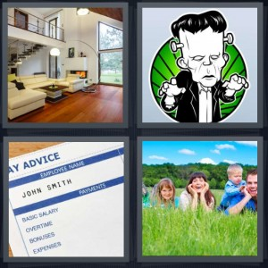 4 Pics 1 Word Answer 6 letters for family room in house, cartoon of Frankenstein with green background, salary stub pay advice, family in field with tall grass