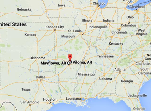 mayflower arkansas tornado 2014, mayflower arkansas map
