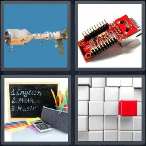 4 Pics 1 Word Answer 6 letters for space shuttle in sky, motherboard computer piece, chalkboard with English math music written, red button