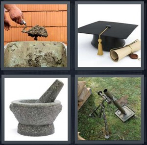4 Pics 1 Word answers, 4 Pics 1 Word cheats, 4 Pics 1 Word 6 letters man laying bricks with cement, graduation cap with diploma, pestle for crushing food, survey tools for land