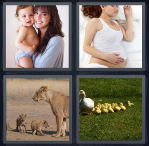 4 Pics 1 Word answers, 4 Pics 1 Word cheats, 4 Pics 1 Word 6 letters parent holding child, pregnant woman sleeping, lion with cubs, duck with chicks