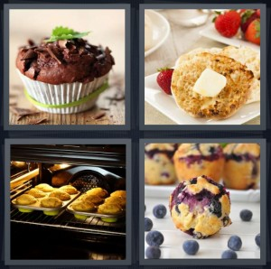 4 Pics 1 Word Answer 6 letters for chocolate cupcake, butter melting onto toasted bread, cupcakes baking in oven, blueberry breakfast food