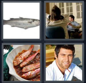 4 Pics 1 Word Answer 6 letters for silver fish on white background, back of woman in meeting, dinner dish of fish with tomato sauce, male model in sunshine