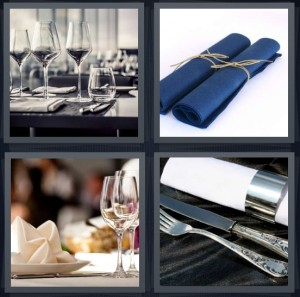 4 Pics 1 Word answers, 4 Pics 1 Word cheats, 4 Pics 1 Word 6 letters crystal glass wine glasses, rolled towels, place setting at restaurant table, silver utensils