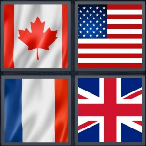 4 Pics 1 Word Answer 6 letters for Canadian flag with maple leaf, American flag, French flag, flag of Great Britain England union jack