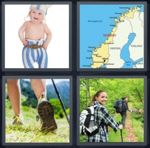 4 Pics 1 Word Answer 6 letters for baby in Norwegian colors, map of Scandinavia with Norway highlighted, walking shoes, hikers in woods