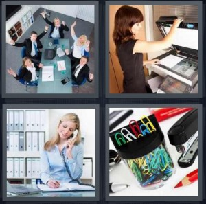 4 Pics 1 Word Answer 6 letters for business team meeting, woman using copy machine, receptionist answering phone, supplies for desk paperclips stapler
