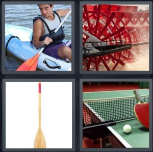4 Pics 1 Word Answer 6 letters for man in canoe on water, red waterwheel turning water, wooden oar, ping pong table with net and ball