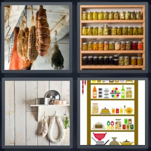 4 Pics 1 Word Answer 6 letters for cured meat hanging from ceiling, jars on shelf in cabinet, hanging meat and food, cartoon of kitchen cabinet with food