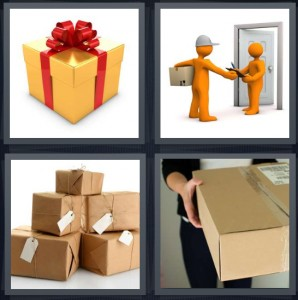 4 Pics 1 Word Answer 6 letters for gift wrapped with red ribbon, cartoon of delivery, stack of boxes, person receiving shipment
