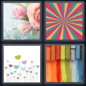 4 Pics 1 Word Answer 6 letters for light pink rose with blue background, psychedelic design, hearts on stems, colorful sidewalk chalk