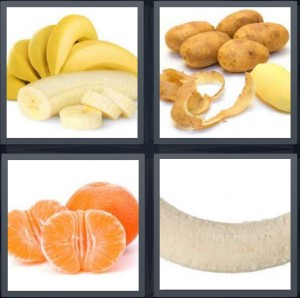 4 Pics 1 Word Answer 6 letters for bananas for salad, potatoes without skin, orange without peel, nude banana fruit