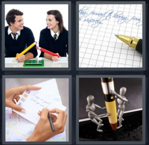 4 Pics 1 Word Answer 6 letters for students with large pencils, graph paper for letter, person addressing envelope to mail letter, statues holding pencil or pen
