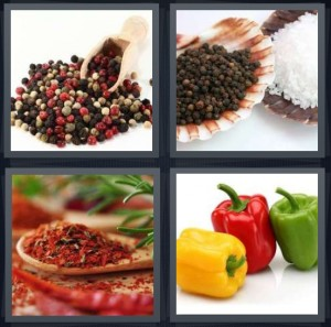 4 Pics 1 Word Answer 6 letters for peppercorns rainbow, spices in shells salt, dried red spicy chilis, bells yellow red green