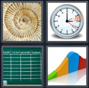 4 Pics 1 Word Answer 6 letters for shell fossil swirl, timer stopwatch clock, weekly schedule on chalkboard, graph with increase decrease