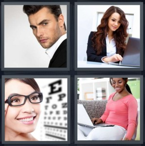 4 Pics 1 Word Answer 6 letters for male model, businesswoman in suit with laptop, woman getting eye test, woman on couch studying with laptop