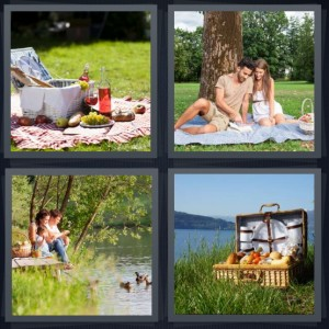 4 Pics 1 Word Answer 6 letters for outdoor lunch with gingham tablecloth, couple on romantic trip, family on edge of lake eating, basket for meal outside