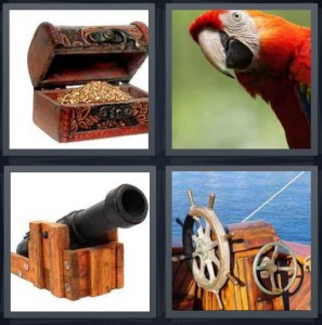 4 Pics 1 Word Answer 6 letters for treasure chest with gold, tropical parrot with red feathers, iron antique cannon, ship sailboat wheel