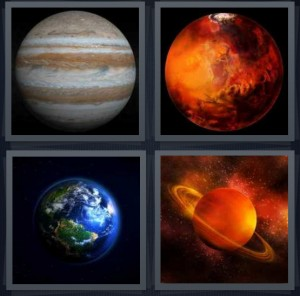 4 Pics 1 Word Answer 6 letters for ball in space orbiting, Mars red from telescope, photo of Earth from satellite, Saturn with rings in orbit