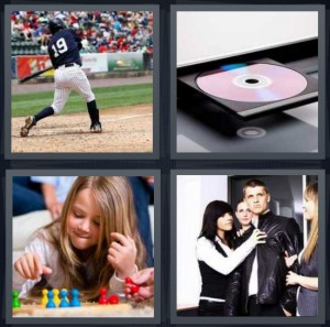 4 Pics 1 Word Answer 6 letters for baseball hitter on base, CD drive in computer, girl playing board game, man surrounded by women