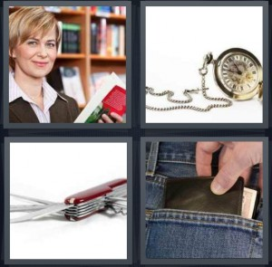 4 Pics 1 Word Answer 6 letters for library with books and woman, old fashioned watch with chain, Swiss army knife, wallet in back of jeans