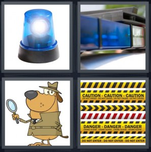 4 Pics 1 Word Answer 6 letters for blue siren for top of cop car, light on top of car, cartoon of dog detective, caution crime scene tape
