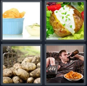 4 Pics 1 Word Answer 6 letters for chips crispy in blue bowl, baked vegetable with sour cream and chives, spud root vegetables, lazy man on couch with chips and beer