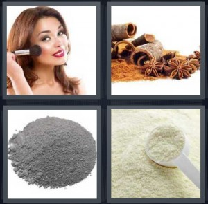 4 Pics 1 Word Answer 6 letters for woman putting on foundation makeup, cinnamon sticks and spice, grey spice ground, flour with measuring spoon