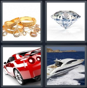4 Pics 1 Word Answer 6 letters for gold and shiny jewelry, large perfect cut diamond, red Corvette sports car, speedboat on blue water with waves