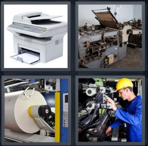 4 Pics 1 Word Answer 7 letters for laser copier, ink machine, ream of paper on roll large, mechanic working on machine