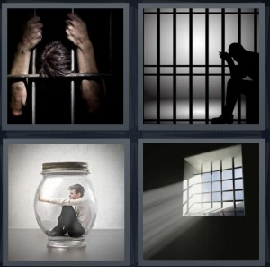 4 Pics 1 Word Answer 6 letters for prisoner behind bars leaning on door, man in jail, man stuck inside glass jar, bars on window