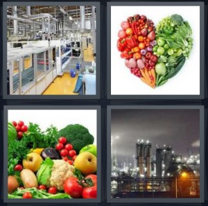 4 Pics 1 Word Answer 7 letters for assembly line in factory making something, heart made of vegetables and fruits, stack of vegetables, factory with large exhaust