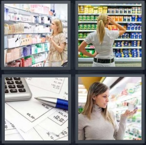 4 Pics 1 Word Answer 7 letters for woman at shop, woman choosing which pasta to buy, calculating finances with pen and calculator, woman at grocery store