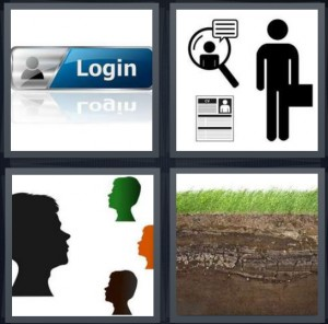 4 Pics 1 Word Answer 7 letters for login to Facebook field, symbols of man in newspaper, profile cameo bust of faces, soil with grass on top