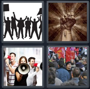 4 Pics 1 Word Answer 7 letters for shadows of people picketing, fist raised in anger, group with bullhorns, people on strike with signs