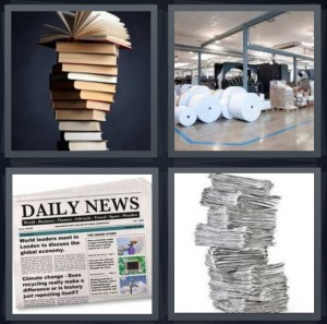 4 Pics 1 Word Answer 7 letters for stack of old books, reams of large paper, daily news with columns, newspaper stacked