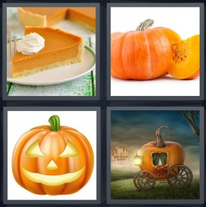 4 Pics 1 Word Answer 7 letters for orange pie, squash with seeds, Halloween jack o lantern, Cinderella carriage