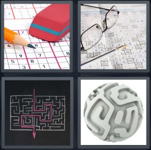 4 Pics 1 Word Answer 6 letters for Sudoku with eraser and pencil, glasses with pen and crossword, maze with pink exit, ball with maze pathways