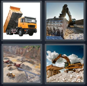 4 Pics 1 Word Answer 6 letters for yellow truck with lift back, bulldozer moving rocks, rock work area, construction site